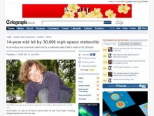 14-year-old hit by 30,000 mph space meteorite - Telegraph- Wall of Cool at Synapse Product Development