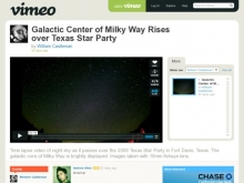Galactic Center of Milky Way Rises over Texas Star Party on Vimeo- Wall of Cool at Synapse Product Development